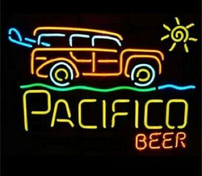 """New Pacifico Surf Woody Beer Neon Sign 24""""x20"""" Bar Pub Wall Light Lamp"""