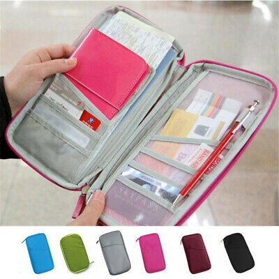 Large Capacity Travel Wallet With Zipper Passport Holder Case Compact Portable