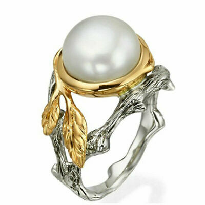 Gorgeous 925 Silver Round White Pearl Leaf Ring Wedding Women Two-Tone Jewelry