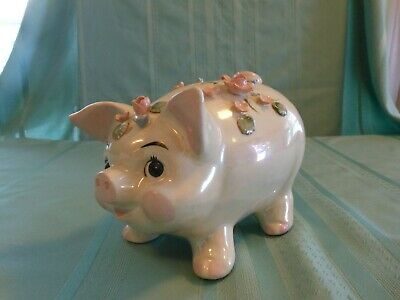 Vintage Ceramic Pig Piggy Bank Roses Flowers Opalescent Luster Lefton # 2814