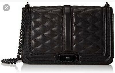 Rebecca Minkoff Leather Love Crossbody Quilted Black With Black Hardware $460