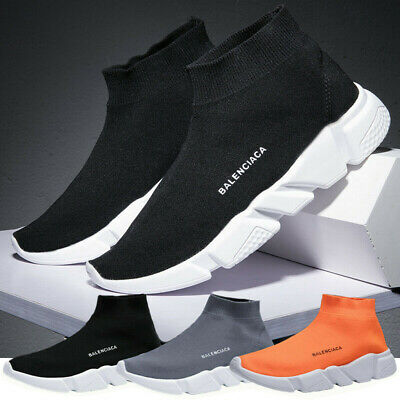 Mens Athletic Mesh Breathable Flyknit Casual Sneakers Sports Running Socks Shoes