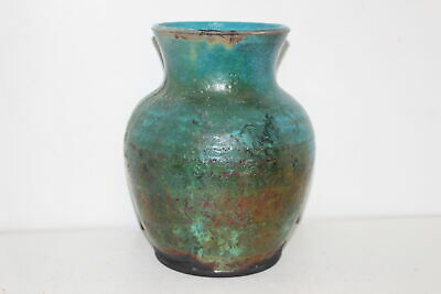 Vintage Turquise/Copper Arts Crafts Textured Pottery Vase