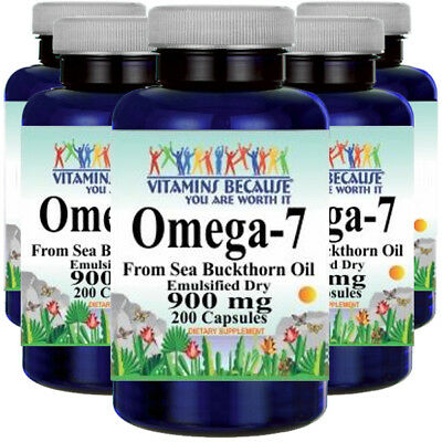 Omega-7 900mg Fatty Acids 5X200 Caps from Natural Sea Buckthorn-Palmitoleic Acid