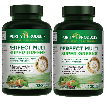 Perfect Multi Super Greens by Purity Products 2X120 caps B-12/L-Glutathione