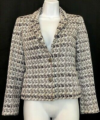 Chanel Jacket Black White And Silver Thread 2 Button Front Open Pockets Size 34
