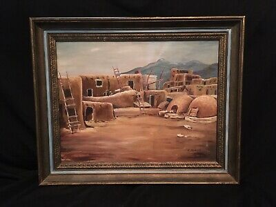 Original Oil On Canvas Painting New Mexico Pueblo Village Signed F. Johns