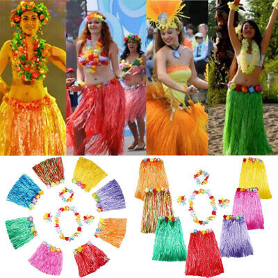 5PC/Set Hawaiian Grass Hula Skirt With Flower Lei Costume Fancy Dress for Kid