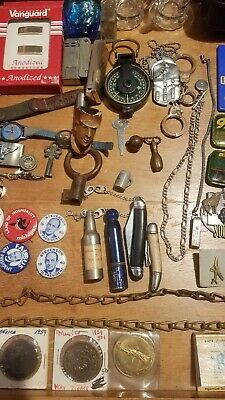 Vintage Junk Drawer Lot-Knives Coins-Lighters-Watches-Military-Jewelry-Buckles