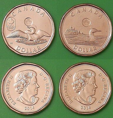 2014 Canada Lucky & Regular 2-Loonie Combo Both From Mint Rolls