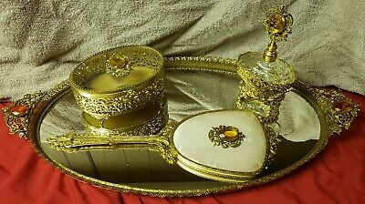 Vintage Globe Filigree Vanity Mirror Tray 4pc Set 24kt Gold Plated