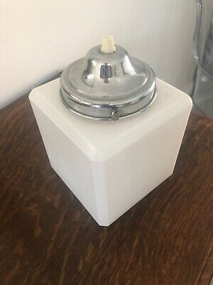 Antique Vintage Opaline Glass Art Deco Cube Pendant Light Chrome Gallery