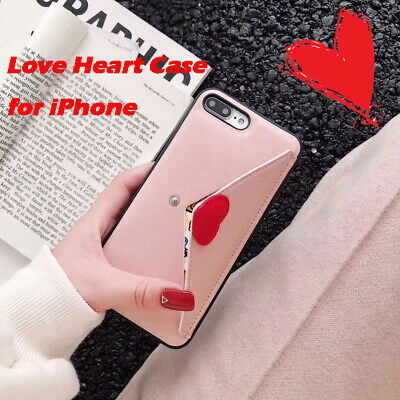 1pcgirl  PU love card package phone case can be used as a bracket stand