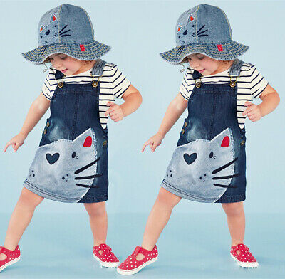UK Cute Cat Baby Kids Girl Toddler Denim Jeans Overalls Dress Skirt Clothes 2-7Y