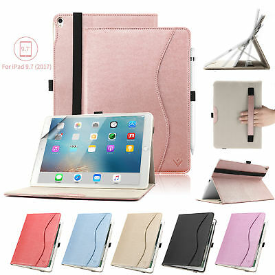 Leather Folio ipad 9.7 5th gen 2017 Case/6th 2018 Case Pen holder Magnetic Cover