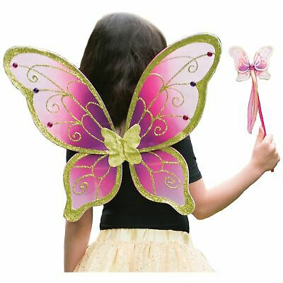 Girls Cerise Pink Gold Magical Fairy Wings and Wand Fancy Dress Up Costume Set