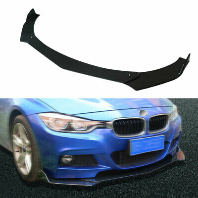 3Pcs Universal Auto Front Bumper Lip Body Spoiler Racing Style Bright Black ABS