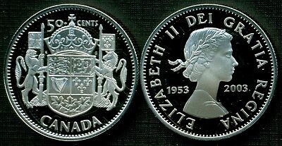 1953-2003 Canada Special Ed. Proof 50 Cent Ster Coin -10 Ann. Queen's Coronation