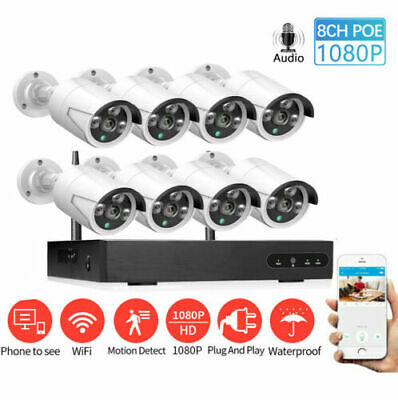 8CH 1080P Wireless WiFi Security Camera System Night Vision CCTV System NVR Lot