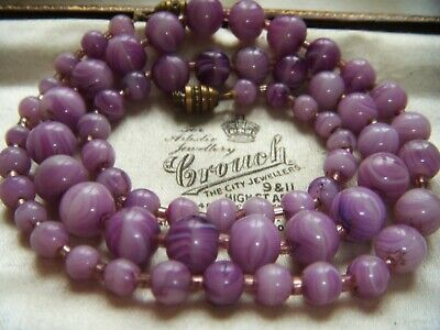 VINTAGE ART DECO JEWELLERY Czech Marbled Amethyst Agate Glass Beads NECKLACE