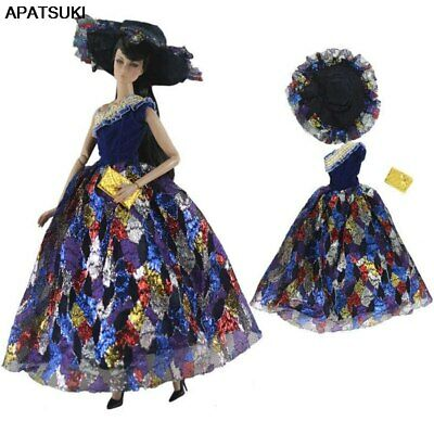 """Dark Blue Fashion 1/6 Doll Clothes For 11.5"""" Doll Dress Princess Gown & Hat Toy"""