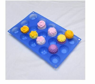 Flower collection 15 balls Silicone soap Mould plaster Mold