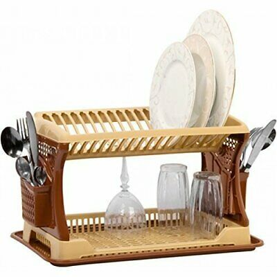 Plastic Dish Drainer Two Layer Rack Tray Utensil Cutlery Beige