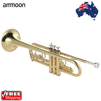 ammoon Trumpet Bb Flat Brass Gold-painted Exquisite with Mouthpiece Gloves K5F5