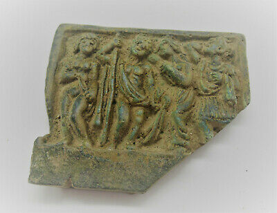 Ancient Roman Bronze Panel Fragment Scene Depicted Rare & Unusual 200-300Ad
