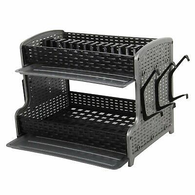 Plastic Dish Drainer Two Layer Rack Tray Utensil Cutlery BlackGrey