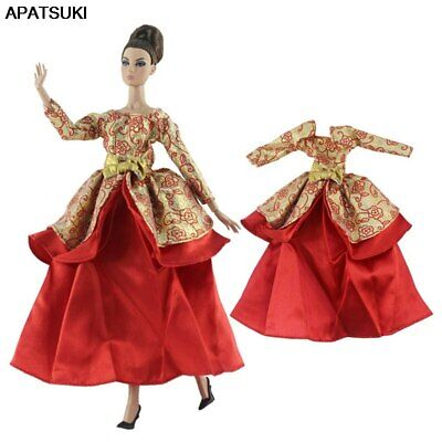 """Red Gold 1/6 Doll Clothes For 11.5"""" Doll Dress Princess Gown Party Dress Outfits"""