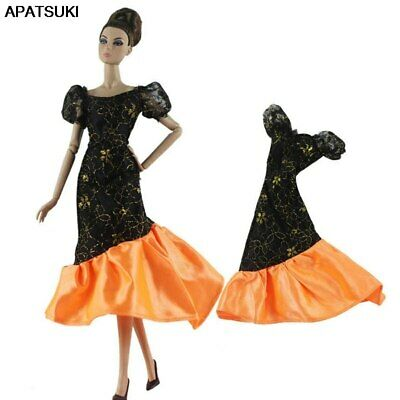 "Black Orange Patchwork Party Dress For 11.5"" Doll 1/6 Doll Clothes Gown Outfits"