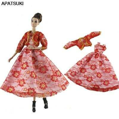 """Red Flower Fashion Dress For 11.5"""" 1/6 Doll Clothes Outfits Coat Princess Gown"""