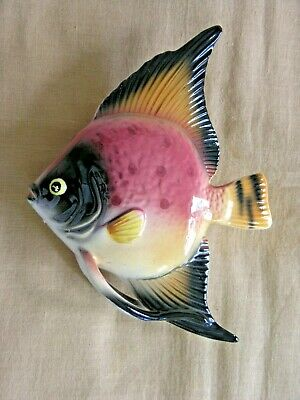 VINTAGE PORCELAIN  FISH WALL MOUNTED ORNAMENT/CONTAINER   20x14x4cms