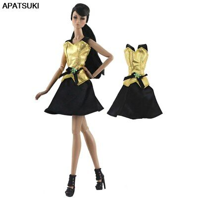 "Gold Black Fashion Short Dress For 11.5"" 1/6 Doll Clothes Outfits Party Gown Toy"
