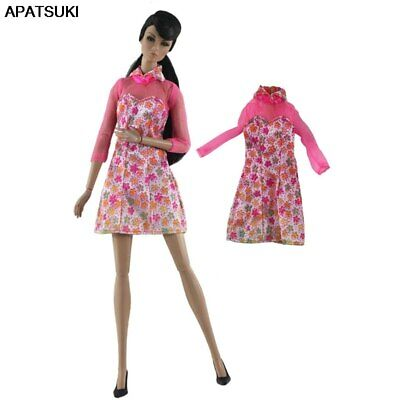 """Pink Floral Fashion Dress For 11.5"""" 1/6 Doll Clothes Outfits Short Gown Kids Toy"""