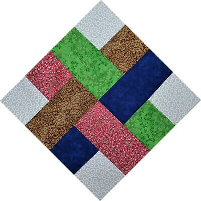 """QUILT BLOCKS-Woven Ribbons-Gold, Red, Blue, Green & White on White, 12"""" Sq."""