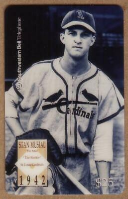 $25. Stan Musial Baseball: 'The Rookie' In Cardinals Uniform SPECIMEN Phone Card