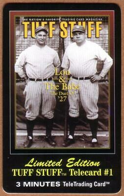 3m Tuff Stuff Magazine Cover: Lou Gehrig & Babe Ruth SPECIMEN 12/95 Phone Card