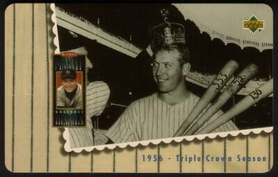 10m Mickey Mantle Holding 3 Bats Photo '1956 - Triple Crown Season' Phone Card