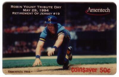 .50 Issue Robin Yount Retirement of Jersey (Milwaukee Brewers) USED Phone Card