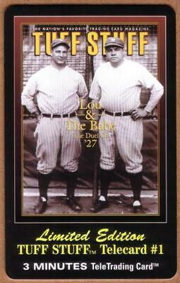 3m Tuff Stuff Magazine Cover: Lou Gehrig & Babe Ruth Baseball # TEST Phone Card