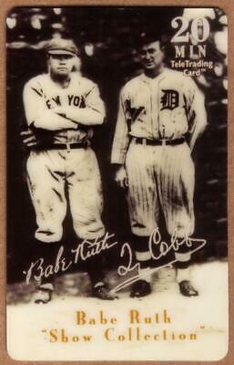 20m Babe Ruth Baseball: Show Collection: Babe Ruth & Ty Cobb Phone Card