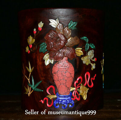 "6.8"" Old China Huanghuali Wood Inlay Shell Jade Dynasty Flower Vase Brush Pot"