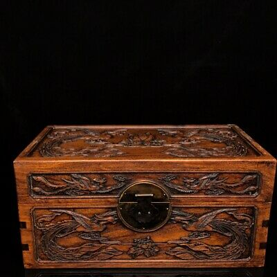 """15"""" Chinese old Antique huanghuali wood handcarved Phoenix peony box statue"""