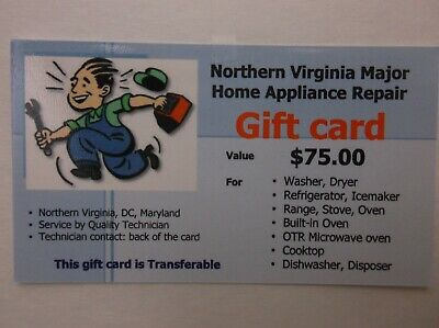 Gift Card Gift Certificate Northern Virginia Major Home Appliance Repair Service