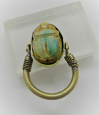 Beautiful Ancient Egyptian Glazed Faience Scarab Ring Gold Gilded Ring