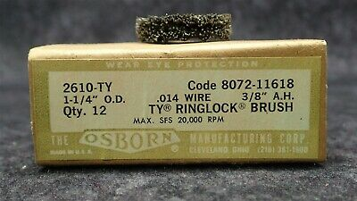 "(12) OSBORN 2610-TY, TY RINGLOCK BRUSH 1-1/4""OD .014"" Crimped Wire x 3/8"" Arbor"