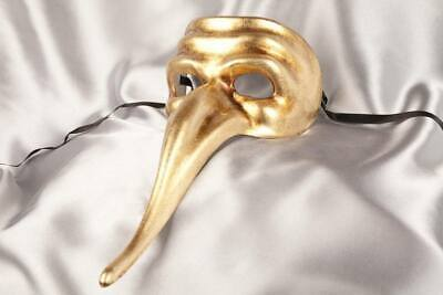 Gold Scaramouche Plain - One Colour Long Nose Masks for Men Venetian Masquerade