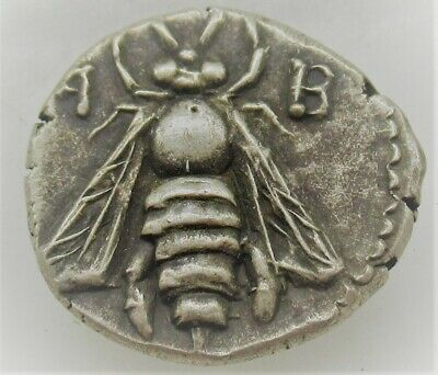 Ancient Phoenician Silver Drachm Ephesus Bee And Stag Very Rare